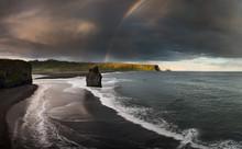 Black Sand Beach Reynisfjara In Iceland. Windy Morning. Ocean Waves. Colorful Sky. Morning Sunset.