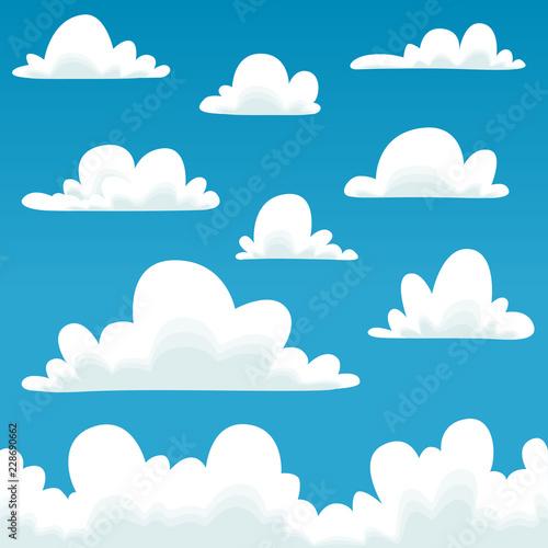 Cartoon clouds template. Vector cloud collection set