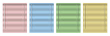Set Of Colored Horizontal Window Blinds. Realistic Illustration Blind Curtains.