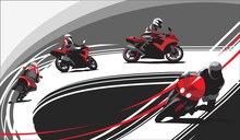 Motorcycle Racers On The Track...