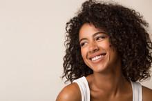 Beauty Portrait Of Black Woman On Light Background