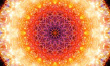 Highly Detailed Mandala Art With Warm Colors And Repetitive Shapes/patterns.