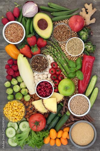 Staande foto Assortiment Alkaline Super Food Selection
