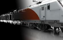 Motrice Treno, Tram, Vagone Ferroviario, Illustrazione 3d