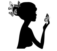 Beauty Girl Silhouette With Bu...