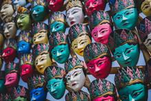 Colorful Javanese Traditional Face Mask (Topeng Wayang) In Jogjakarta, Indonesia