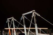 Two Pairs Uneven Bars In Gymnastics Gym