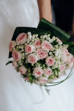 Faceless Bride With Rose Bouquet