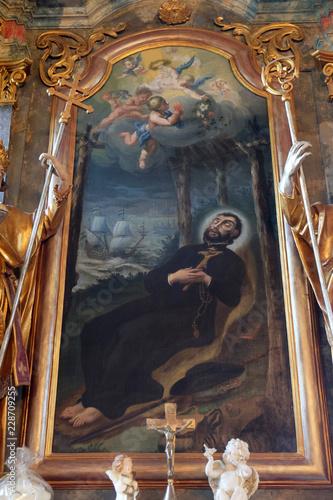 Fotografie, Obraz  Saint Francis Xavier, altarpiece in the church of Holy Trinity in Klenovnik, Cro