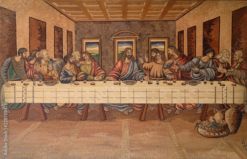 Fotografie, Obraz  The Last Supper of Christ and the Disciples, church of Holy Trinity in Klenovnik