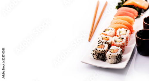 Printed kitchen splashbacks Sushi bar Sushi set isolated over white