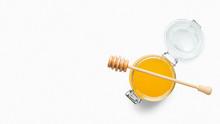 Jar Full Of Fresh Honey Isolated On White
