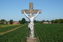 Catholic Wayside Shrine With Statue Of Jesus On The Cross In Scitarjevo, Croatia