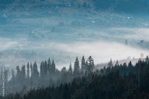 Poster Ochtendstond met mist Early morning spring Carpathian mountains