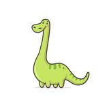 Fototapeta Dinusie - Green cute dinosaur Argentinosaurus vector cartoon kawaii illustration isolated on white