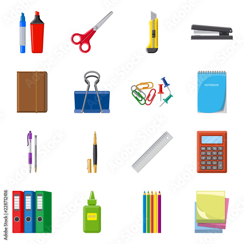 Obraz Vector illustration of office and supply symbol. Collection of office and school vector icon for stock. - fototapety do salonu
