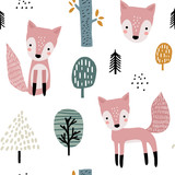 Semless woodland pattern with cute foxes and hand drawn elements. Scandinaviann style childish texture for fabric, textile, apparel, nursery decoration. Vector illustration