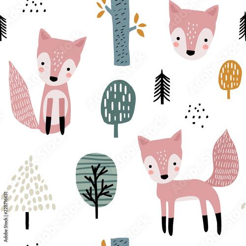 semless-lasu-wzor-z-slicznymi-lisami-i-reka-rysujacymi-elementami-dziecinna-tekstura-w-stylu-skandynawskim-do-tkanin-tekstyliow-odziezy