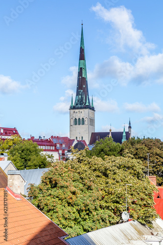 Photo  Cityscape of Talinn, with a view from the town wall on St Olaf Baptist  Chruch i