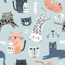 Seamless Pattern With Different Funny Cats. Creative Childish Texture. Great For Fabric, Textile Vector Illustration