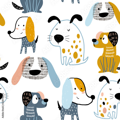 obraz PCV Childish seamless pattern with funny creative dogs. Trendy scandinavian vector background. Perfect for kids apparel,fabric, textile, nursery decoration,wrapping paper