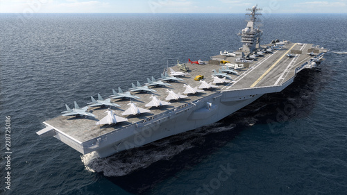 Aircraft carrier crossing the ocean 3D rendering Tapéta, Fotótapéta