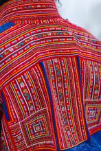Skibotn, Norway. Detail View Of Traditional Sami Fabric Pattern.