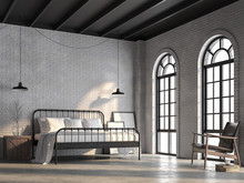 Loft Bedroom 3d Render,There Are White Brick Wall,polished Concrete Floor And Black Wood Ceiling.Furnished With Black Steel Bed ,There Are Arch Shape Windows Sunlight Shining Into The Room.