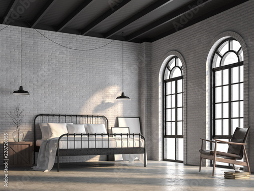 Loft Bedroom Render There Are White Brick Wall Polished Concrete Floor And Black