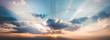 Leinwandbild Motiv panorama landscape of sky with clouds in the twilight