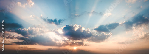 panorama landscape of sky with clouds in the twilight - fototapety na wymiar