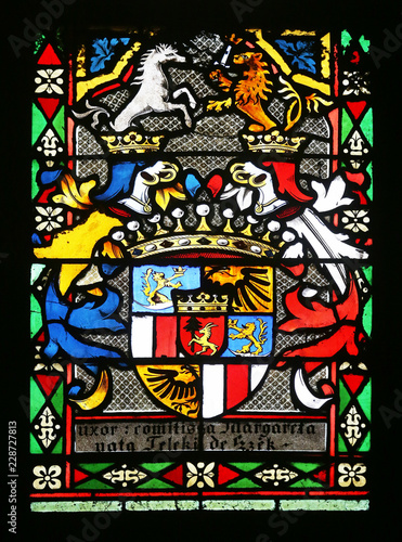 Foto op Aluminium Imagination Coat of arms of Countess Telleki, stained glass in Zagreb cathedral dedicated to the Assumption of Mary