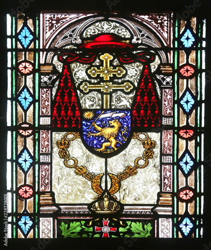 Tuinposter Imagination Coat of arms of Cardinal Joseph Mihalovic, stained glass in Zagreb cathedral dedicated to the Assumption of Mary