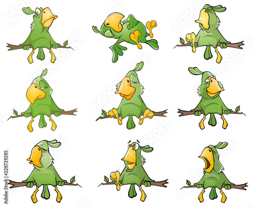 Staande foto Babykamer Set of Cute Green Parrots for you Design. Cartoon Character