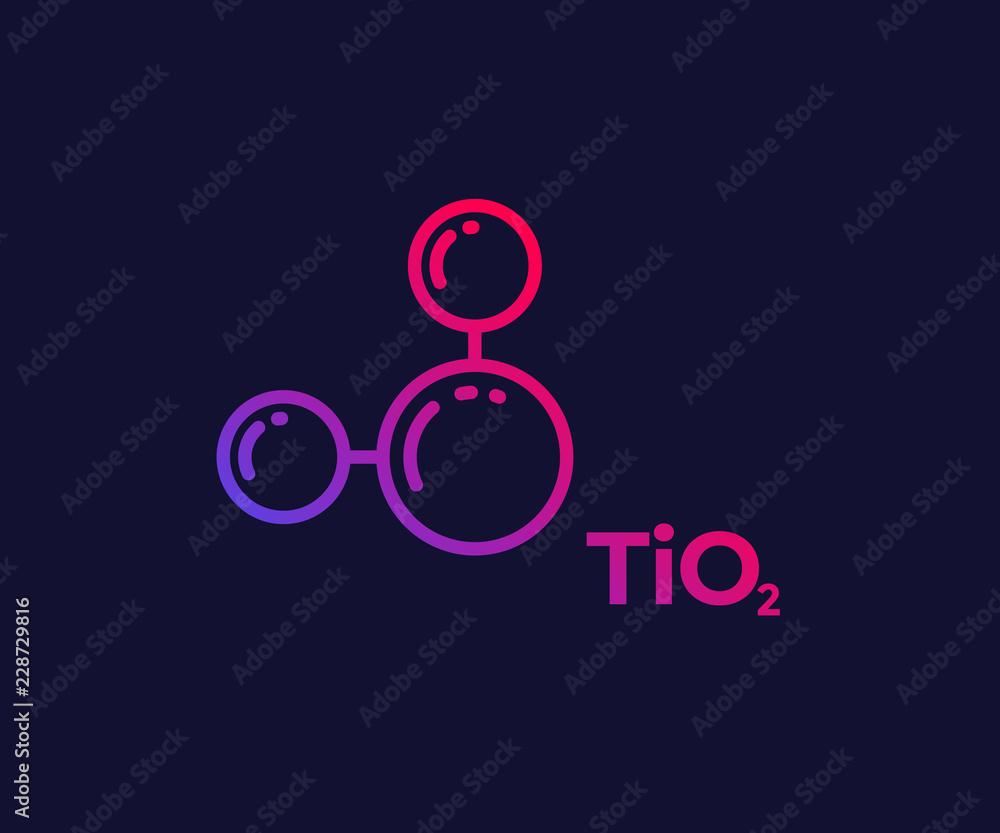 Fototapeta titanium dioxide molecule, linear icon