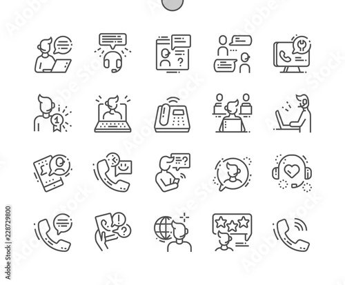 Cuadros en Lienzo Call Center Well-crafted Pixel Perfect Vector Thin Line Icons 30 2x Grid for Web Graphics and Apps
