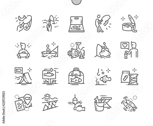 Fotografie, Obraz  Fishing Well-crafted Pixel Perfect Vector Thin Line Icons 30 2x Grid for Web Graphics and Apps