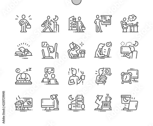 Obraz Working Late Well-crafted Pixel Perfect Vector Thin Line Icons 30 2x Grid for Web Graphics and Apps. Simple Minimal Pictogram - fototapety do salonu