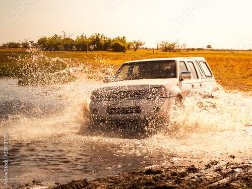Photo Off-road car fording water on safari wild drive in Chobe National Park, Botswana