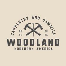 Vintage Carpentry, Woodwork And Mechanic Label, Badge, Emblem And Logo. Vector Illustration. Monochrome Graphic Art.