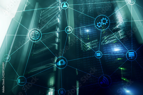 Fototapeta Technology infrastructure cloud computing and communication. Internet concept. obraz
