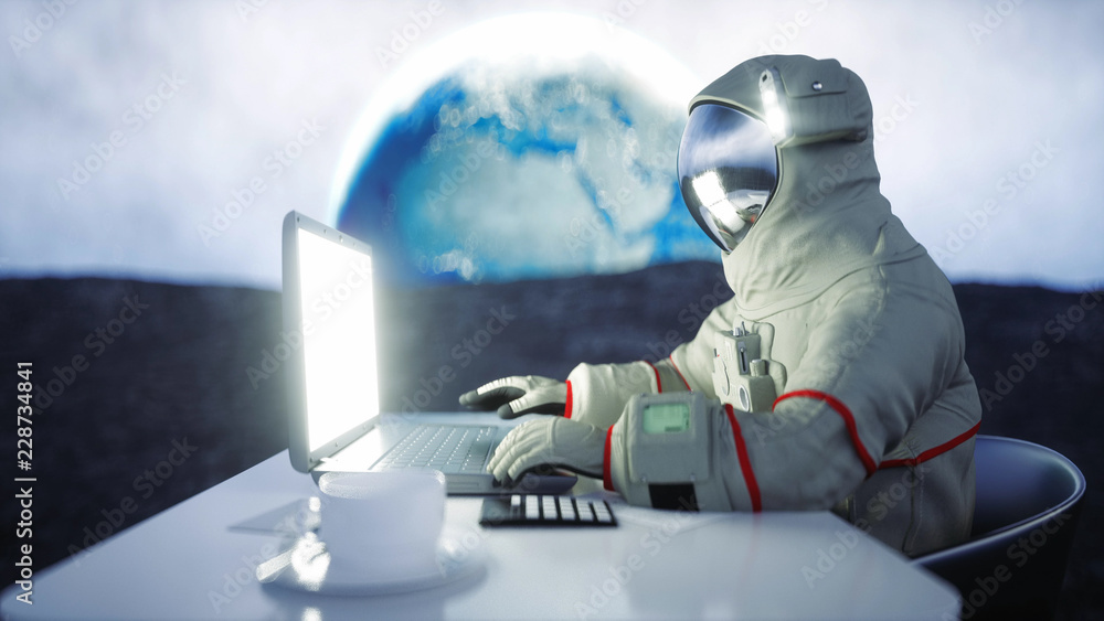 Fototapety, obrazy: Astronaut on the moon working with notebook . 3d rendering.