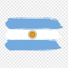 Flag Argentina, Brush Stroke Background.  Flag Of  Argentina On Transparent Background. Stock Vector.  Flag For Your Web Site Design, Logo, App, UI. Vector Illustration EPS10.