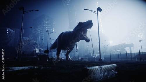 Photo  terrible dinosaur trex in the night destroyed city