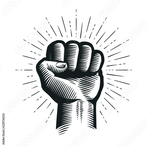 Raised up clenched fist. Sketch vector illustration Canvas Print