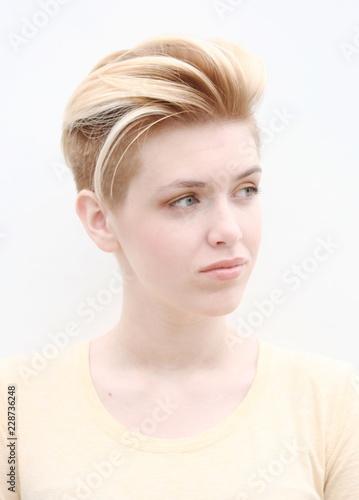 Fotografie, Obraz  Blond model girl teenager with lady mohawk