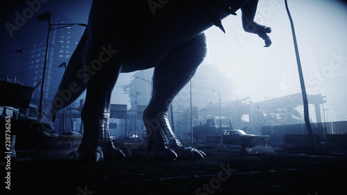 terrible dinosaur trex in the night destroyed city Tablou Canvas