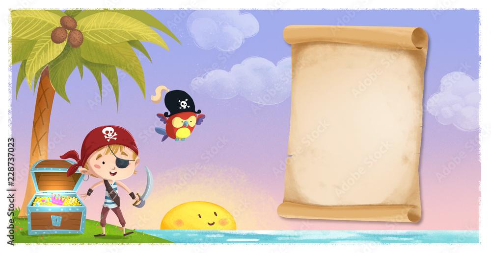 Fototapeta niño pirata con mapa pergamino