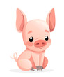Cute pig. Cartoon character design. Happy little pig sit. Flat vector illustration isolated on white background