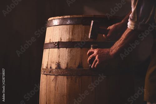Wooden Barrels in a cooperage, barrel workshop Fototapet